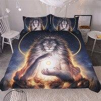 Soul Keeper By JoJoesArt Comforter Bedding Set Lion Print Duvet Cover Set Golden Bed Cover 3pcs Noble and Holy Animal Bedclothes