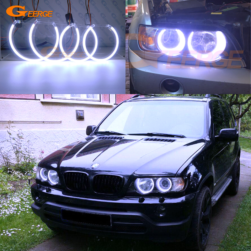 For BMW E53 X5 2000 2001 2002 2003 Excellent Ultra bright illumination COB led angel eyes kit halo rings super bright led angel eyes for bmw x5 2000 to 2006 color shift headlight halo angel demon eyes rings kit