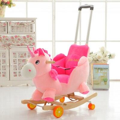 Children Horse Rocking Horse Wood Rocking Horse Toy Baby Rocking Chair  Dual Purpose Baby Gift