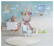 Nordic minimalist hand-painted personality wallpaper bunny balloon children's room background wall papers home decor цены