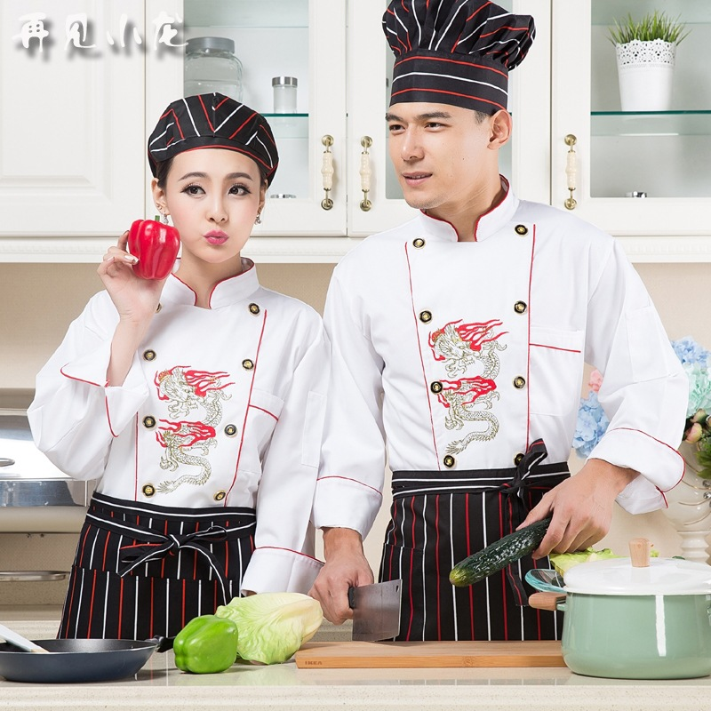 Cooks Kitchen Jacket Adult Chef Uniforms Female Restaurant Chefs Apparel Ladies Chefwear  Embroidered Dragon Plus Size  B-5916