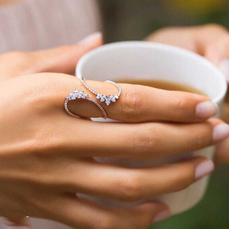New Fashion Morocco Design CZ Zirconia Crystal Open Rings For Women Kunckle Ring Jewelry Bijoux Birthday Gifts CRP2015