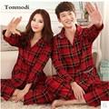 Пижамы Женщин Весной И Осенью Красный Праздничный Мужчины Пижамы любителей Пижамы 100% Хлопок С Длинными рукавами Женщин Гостиная Пижамы набор 4XL