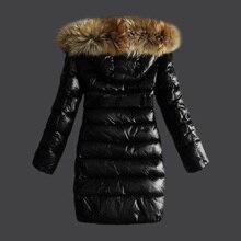 Women Winter Jacket Coat Real Raccoon Fur Hood Fashion Long Overcoat Thicken Warm Soft Jacket with Belt Black