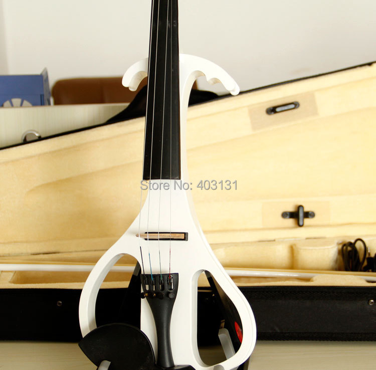 China Brand 4/4 Violin / Handcrafted White Electric Violin with A Violin Case Free Shipping & Excellent Tone Quality free shipping high quality 4 4 violin send violin hard case handmade white black electric violin with power lines