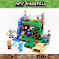 378pcs 4 In 1 My World Steve Alex Iron Golem Zombie Minecrafted Mini Building Blocks Figures