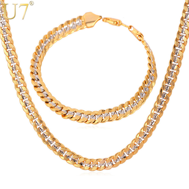 U7 Brand Necklace And Bracelet Set Two Tone Gold Color Hip Hop Cuban Link Chain Jewelry Set For Men Gift S566U7 Brand Necklace And Bracelet Set Two Tone Gold Color Hip Hop Cuban Link Chain Jewelry Set For Men Gift S566