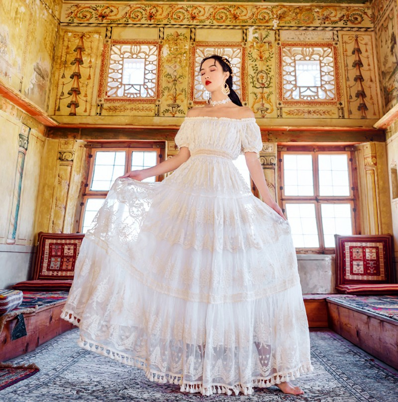 2019 été maille dentelle broderie vacances grand Swing longue robe femmes décontracté hors de l'épaule blanc longues robes Vestidos - 2