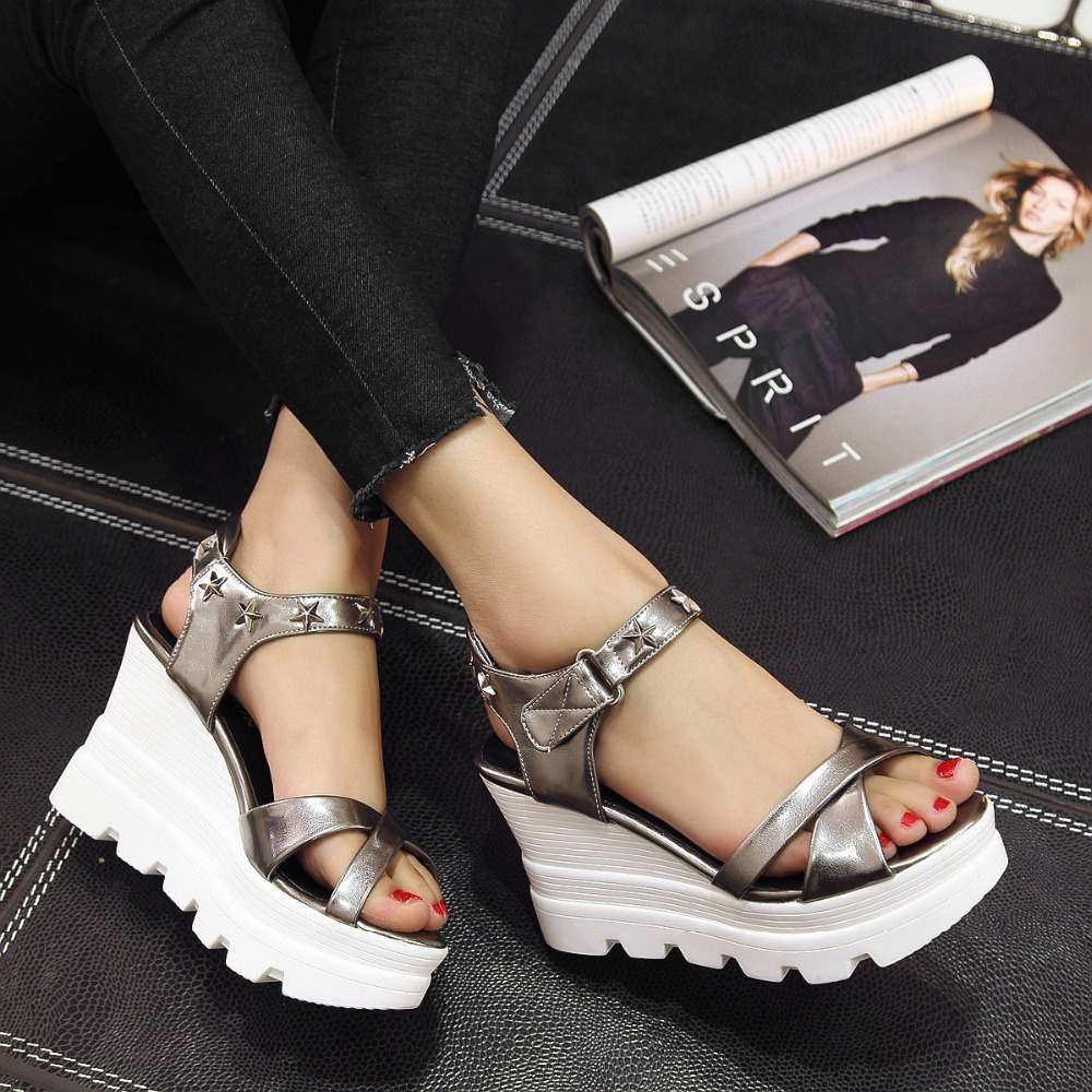 2016 summer Women Shoes Wedges Solid color Platform hook Loop platforms Metal Peep Toe sandals big size 34-39 T526 phyanic 2017 summer women sandals platform wedges sandals hook