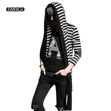 Men Hooded T shirt Fashion Asymmetry Striped Splice Cardigan Tees Shirt Male Casual T Shirt Coat