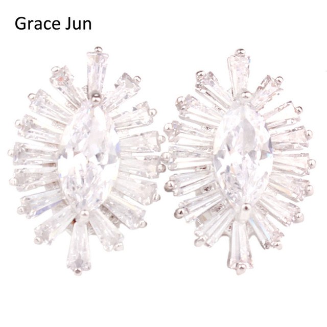 Grace Jun Top Quality Copper Material Clip On Earring Without Piercing Fine Jewelry Aaa Cubic Zircon