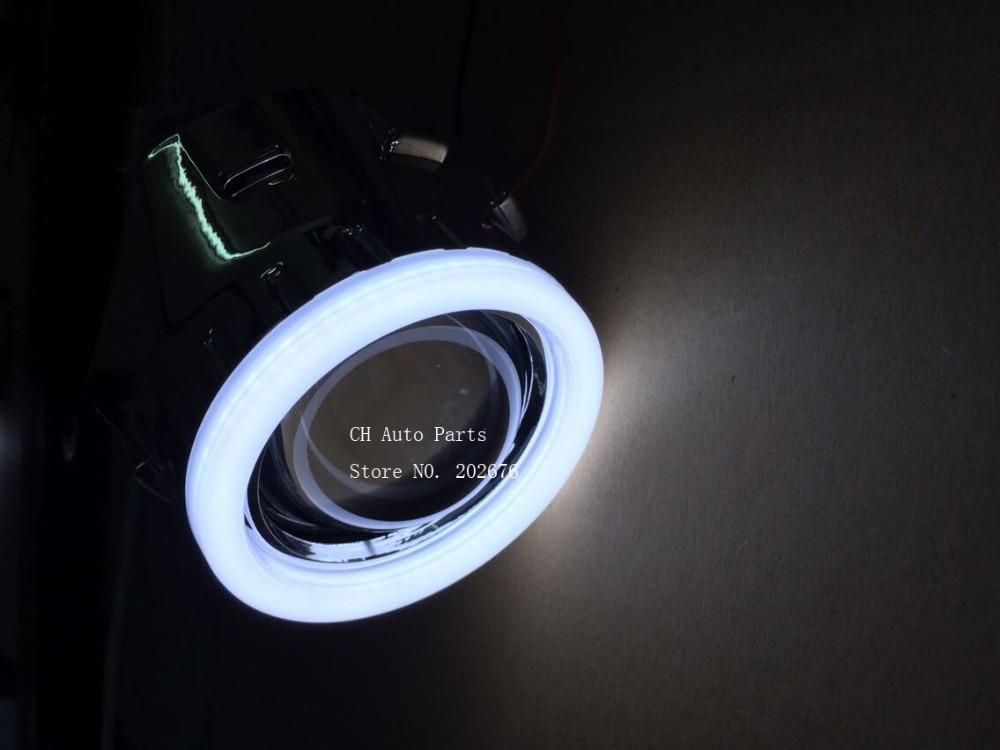 DLAND OWN LED ANGEL EYE MINI HID BI-XENON PROSIECTYDD LENS 2.5 INCH V4, GALWAD HAWDD YN GOSOD H1 H4 H7 HB3 HB4 RHD LHD