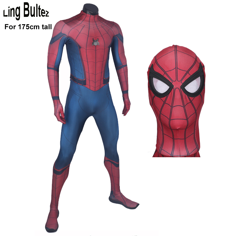 Ling Bultez High Quality For 170 to 175cm tall Spiderman Costume Homcoming Spiderman Cosplay Costume Tom