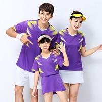 Adsmoney Tennis badminton shirt with Shorts/skirts, Adult/Children table tennis clothes team short sleeve V Neck T Shirts Skorts