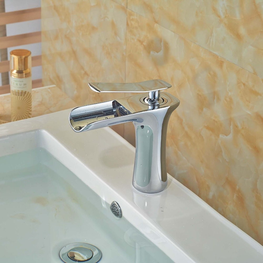 Waterfall Spout Bathroom Faucet: Elegant Waterfall Spout Bathroom Faucet Chrome Brass
