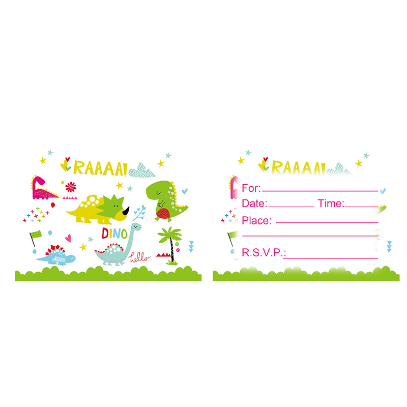 20pcs Dinosaur theme birthday party invitations baby shower supplies invitation card