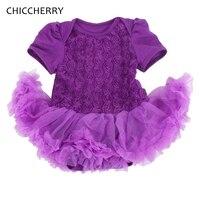 Roxo 3D Rose Flor Infantil Vestido De Noiva Tutu Lace Vestido Bebe Romper Do Bebê Vestidos Da Menina de Aniversário Da Criança Outfits Roupa Dos Miúdos