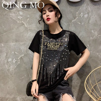 QING MO Women Black White Red Rhinestone T Shirt Women Short Sleeve Cotton T Shirt Women Elegant T Shirt 2019 ZQY725