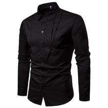 Casual dress Mens Long sleeve Shirt Unique design Camisa social Blouse Mens Shirts White Black Solid color 2019 New new model shirts stand collar white black camisa social mens shirt unique golden design blouse mens clothing slim fit