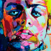 Neilly Knife Painting Abstract Face Oil Modern Wall Artworks Decoration For home Printed On Canvas Wholesale