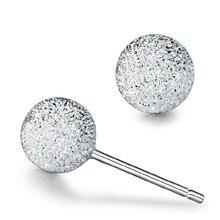 цены 100% 925 sterling silver fashion round dull polish ladies`stud earrings jewelry Anti allergy women birthday gift drop shipping