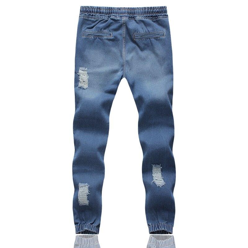 MOGU новые Джоггеры мужские длинные джинсы с отворотами плюс размер 5XL джинсы с эластичной талией мужские светло-голубые рваные джинсы для мужчин