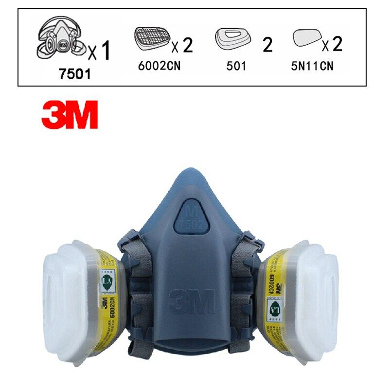 3 M 7501 + 6002 masque respiratoire demi-visage masque respiratoire réutilisable contre certains gaz acides CL2/SO2/HCl/H2S 7 articles pour 1 Set XK00
