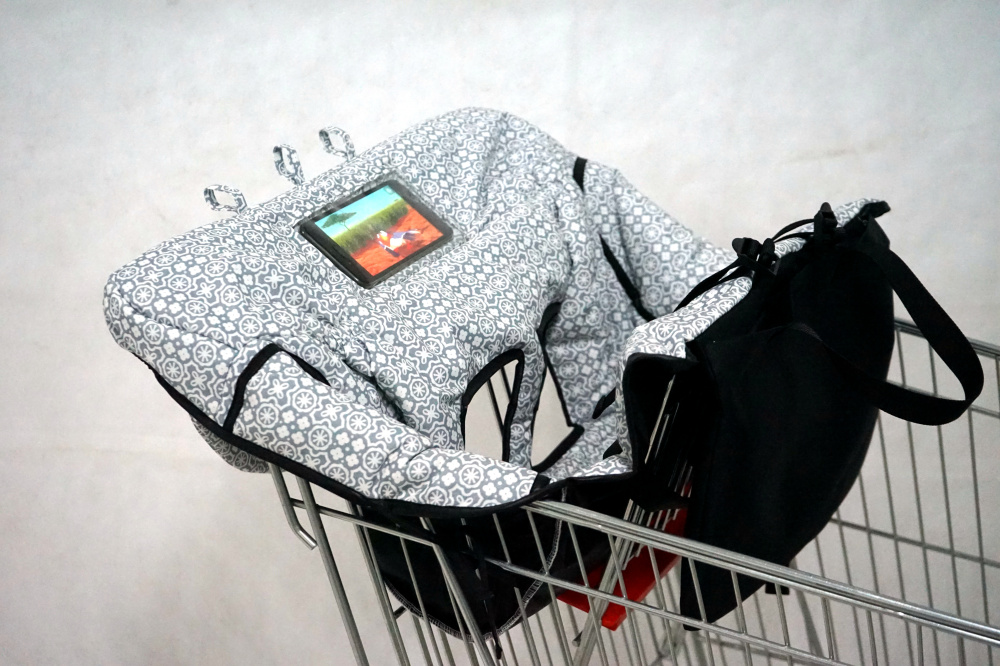 WATERPROOF 2-in-1 Baby Shopping Cart Cover & High Chair Covers With Safety Harness For Bab  & Toddler (Unisex Gray)