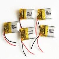 많은 5 개 3.7 볼트 100 미리암페르하우어 리포 충전식 배터리 리튬 폴리머 601417 Mp3 Mp4 패드 DVD 전자 책 블루투스 헤드셋 헤드