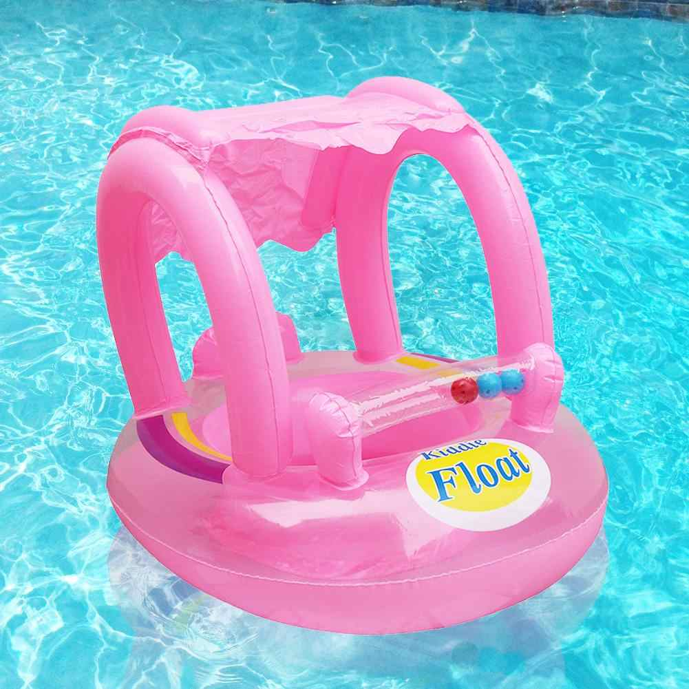 Summer  Swim Boat Seat Cushion Inflatable Sunshade Pool Safety swimming ring Seat Float Infant Baby's Seat Float Water Play
