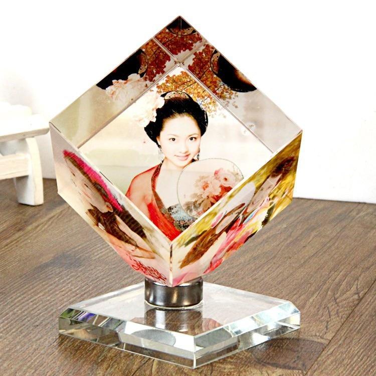 Hot Selling Rotating Cube Crystal Glass Photo Frame Printing Photos ...