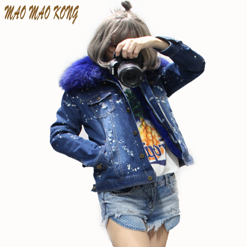 MaoMaoKong 2017 autumn winter jacket coat women Holes Denim jacket real large raccoon fur collar and faux fur thick warm Liner 2017 autumn winter jacket coat women holes denim long jacket real large raccoon fur collar and faux fur thick warm liner