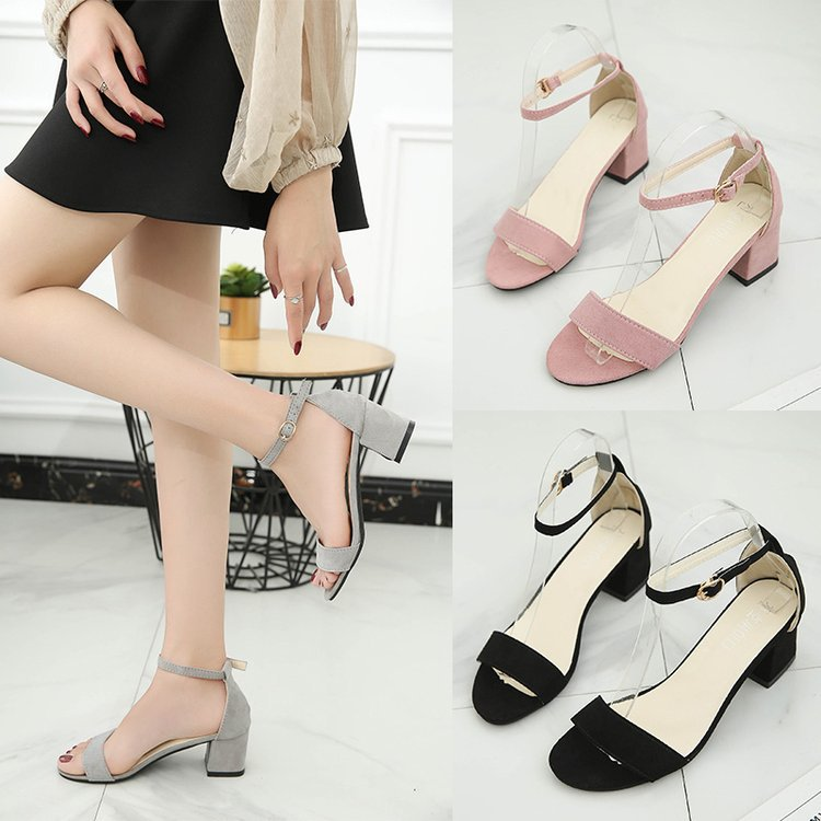 Summer shoes women s sandals hollow coarse sandals High heels 4 0cm Gladiator One word buckle Leisure Female sandals in Middle Heels from Shoes