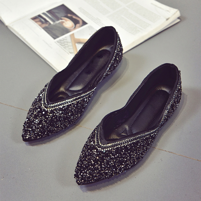 Spring Autumn Women Shoes Pointed Toe Bling Slip on Shoes Cute Woman Flats  Sequined Cloth Loafer Ladies Shoes zapatos mujer 6197 9f193011dcb8