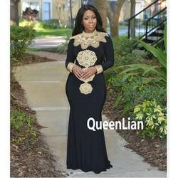 Envío de diseño de moda de alta Collar bordado señora Maxi tradicional tela Dashiki africano vestido para las mujeres (GL02 #)