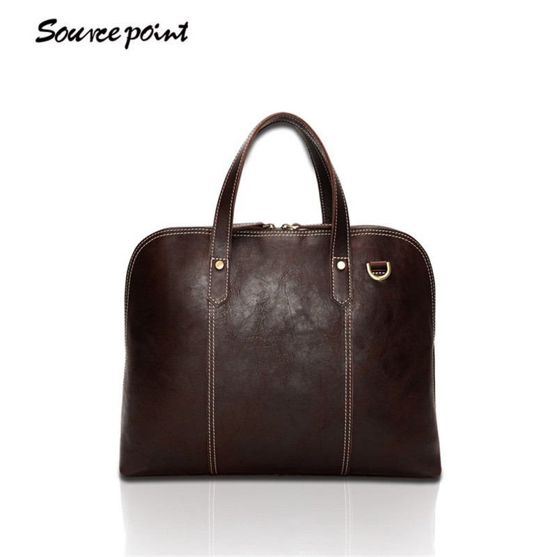 SOURCE POINT New Men Genuine Leather Briefcase Oil Wax Leather Shoulder Bags Messenger Bags Vintage Handbags For Men YD-8096# candy colors lady envelope purses long clutch women zipper wallets change coin purse good quality money bags cards holder wallet