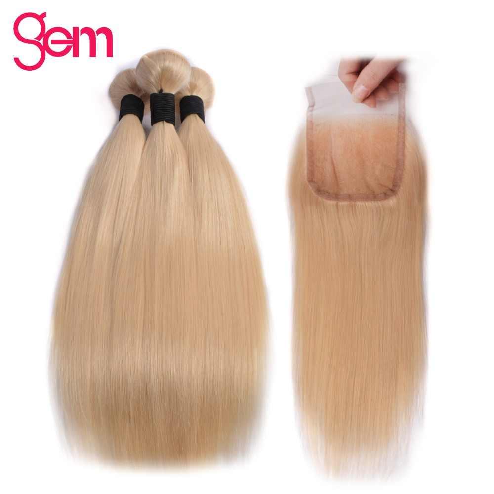 613 медовые светлые пучки с закрытием бразильские прямые пучки волос с закрытием драгоценный камень красоты Remy человеческие волосы переплетения экспансии
