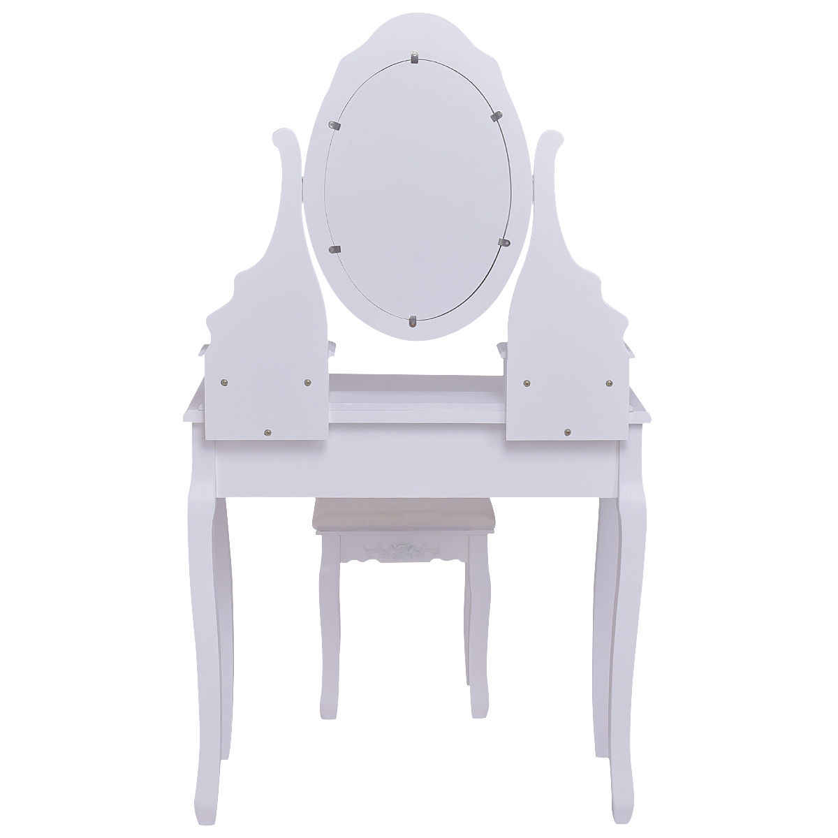 Giantex White Vanity Jewelry Wooden Makeup Dressing Table Set with Stool Mirror & 5 Drawers Modern Bedroom Dressers HW55564