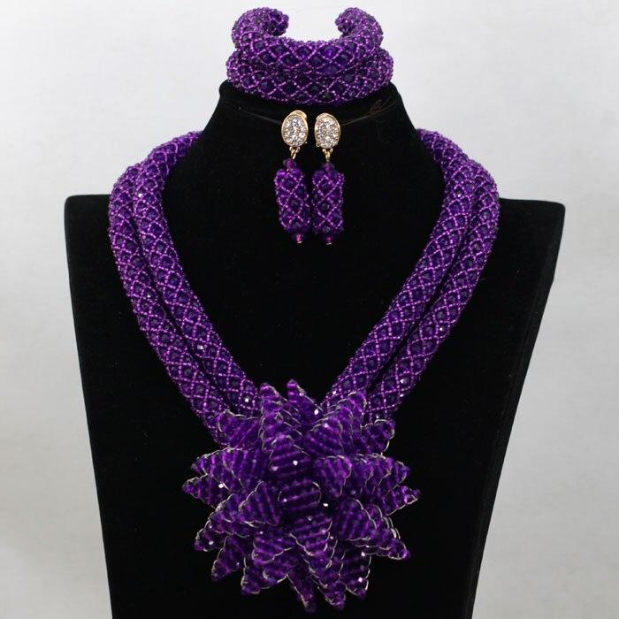 2017 Purple Flower Bead Sets Jewelry Latest Design Nigerian Beads ...
