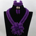 2017 Purple Flower Bead Sets Jewelry Latest Design Nigerian Beads Necklace Set Bridal Jewelry Set Free Shipping WA747