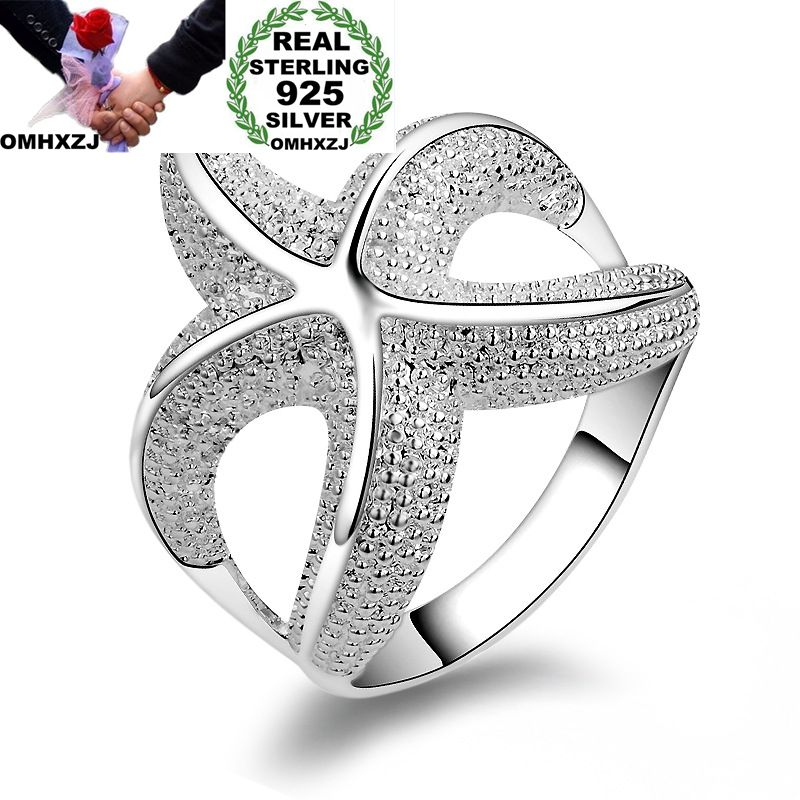 OMHXZJ Wholesale Personality Fashion OL Woman Girl Party Wedding Gift Silver Sea Star 925 Sterling Silver Ring RN274