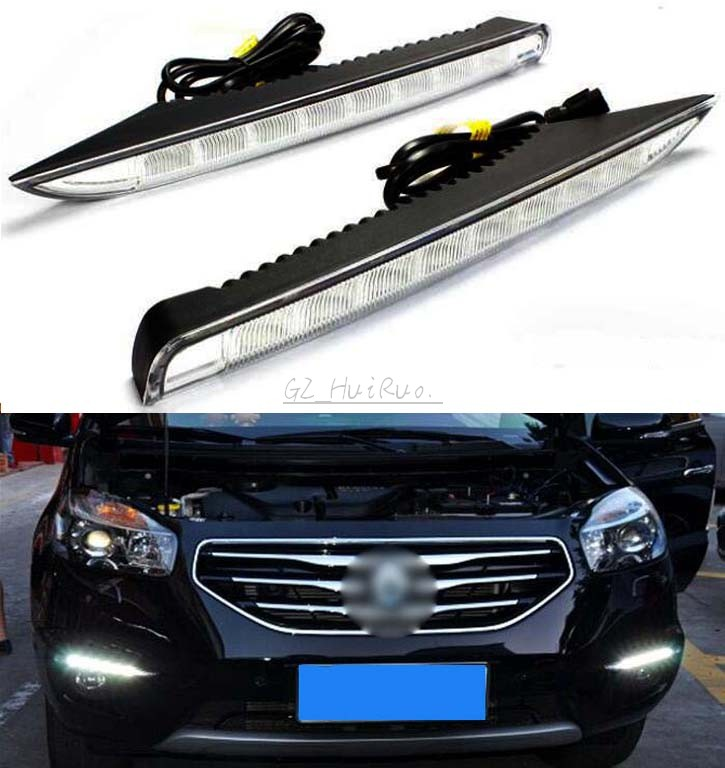 For Renault Koleos 2012 2013 2014 Dimming Style Relay Waterproof Aluminum Case Car DRL 12V LED Daytime Running Light Daylight new dimming style relay waterproof 12v led car light drl daytime running lights with fog lamp hole for mitsubishi asx 2013 2014