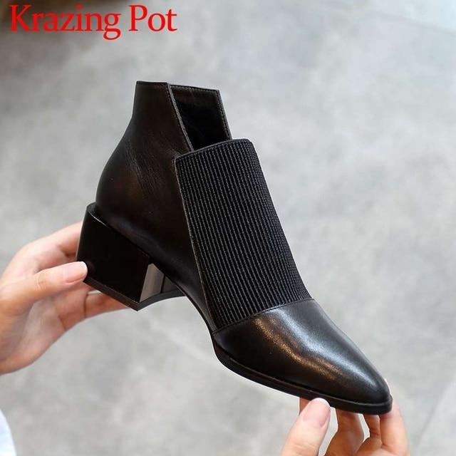 Botas de estilo chelsea para mujer, botines de piel auténtica suave sin cordones, puntiagudas, estilo clásico, liso, para primavera, L83
