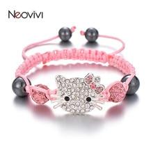 Neovivi прекрасный детский браслет с кошкой, очаровательные стразы, круглые хрустальные бусины, многоцветные плетеные браслеты, детские украшения своими руками