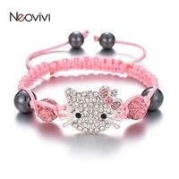 Neovivi-pulsera para niños con abalorios de gato, diamantes de imitación, perla redonda de cristal, multicolor, cadena trenzada, joyería DIY para niños