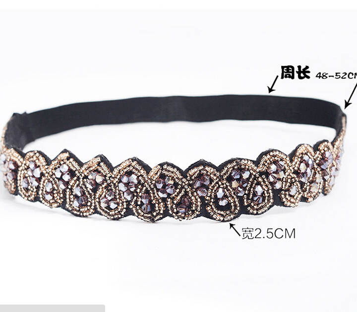 Vintage Bohemian Ethnic Gold Seed Beads Faceted Metal Beads Heart Handmade Elastic Wide Headband Hair Band Hair Accessories vintage bohemian ethnic colored tube seed beads flower rhinestone handmade elastic headband hair band hair accessories