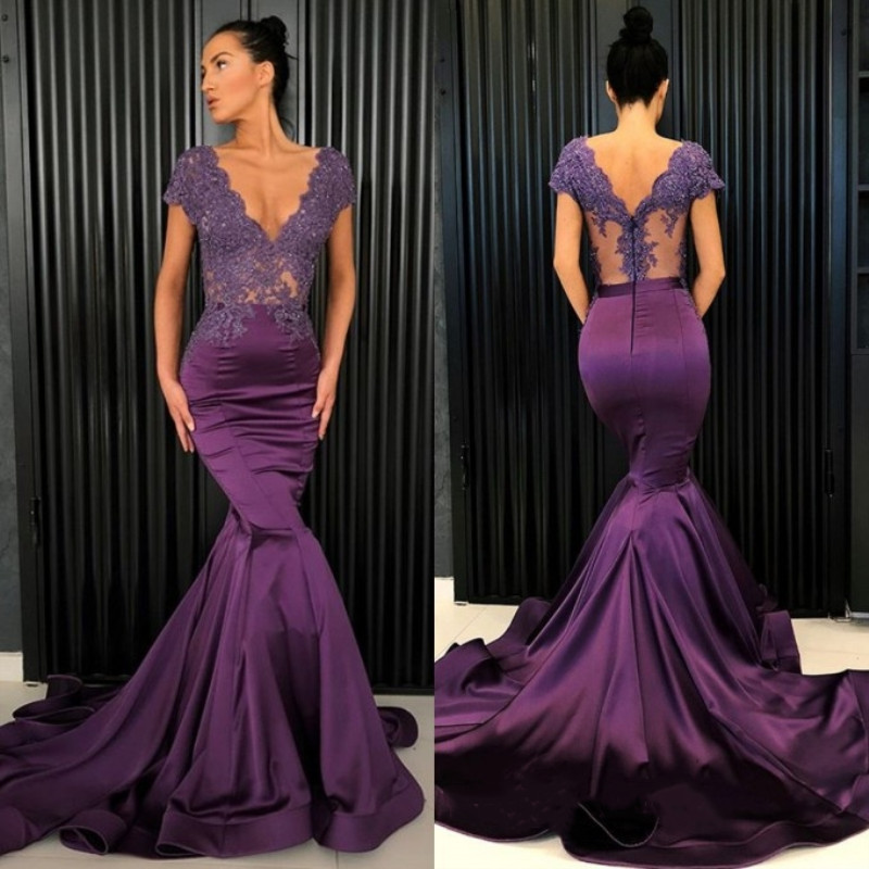 Grape 2019   Prom     Dresses   V-Neck Cap Sleeve Lace Appliques Formal Party Gowns Mermaid Long Evening   Dresses   Robes De Soiree