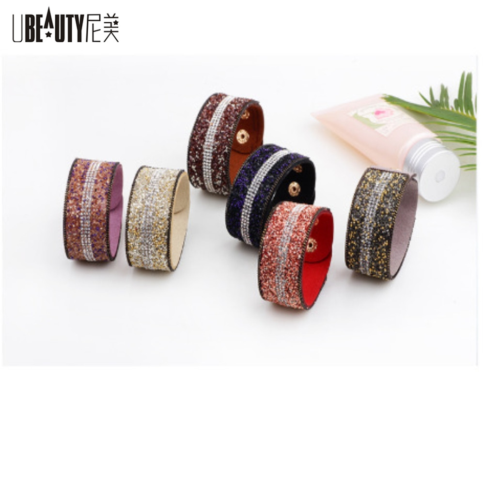 UBEAUTY Luxury Crystal Gravel Bracelet For Women 3 Row Fashion Charm Wristband Bijoux Bracelets & Bangles For Women Jewelry