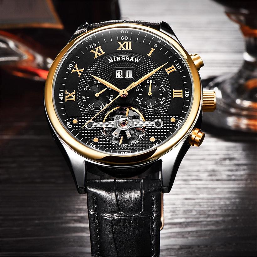 Binssaw Herenhorloges Mechanisch Horloge Duik 50m Kalender Gouden - Herenhorloges - Foto 2