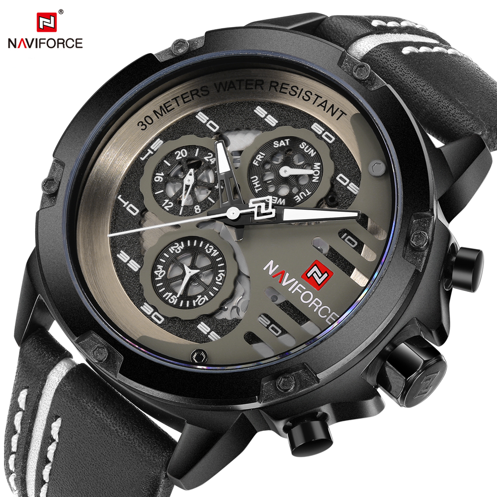 NAVIFORCE Leather Watch Men Quartz Watches Sport 24 Hour Display Saat Fashion Casual Man Wristwatch Male Clock Relogio Masculino 2017 new top fashion time limited relogio masculino mans watches sale sport watch blacl waterproof case quartz man wristwatches